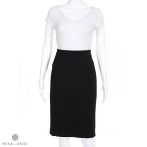 RENA LANGE Classy Black Wool Blend Pencil Skirt
